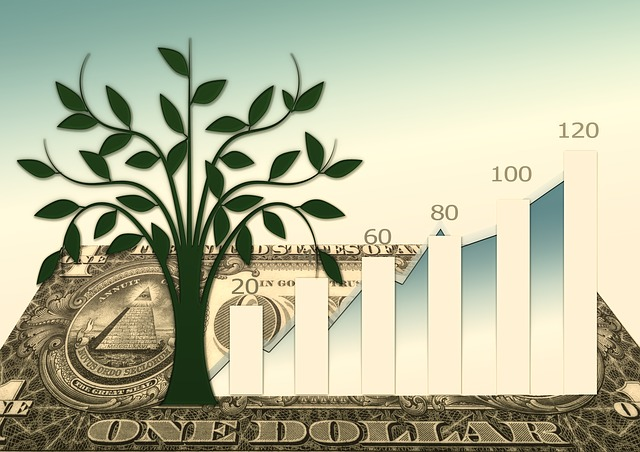 graf růstu, bankovka, strom