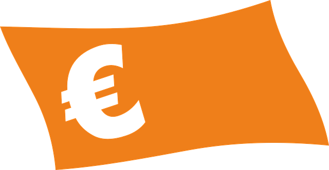symbol eura, oranžová bankovka